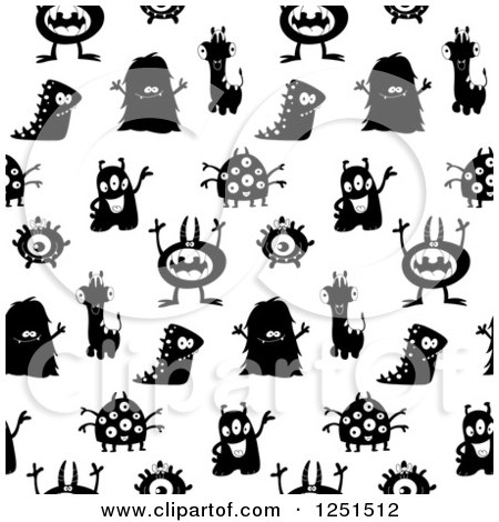 Clipart of a Seamless Black and White Monster Background Pattern - Royalty Free Vector Illustration by yayayoyo