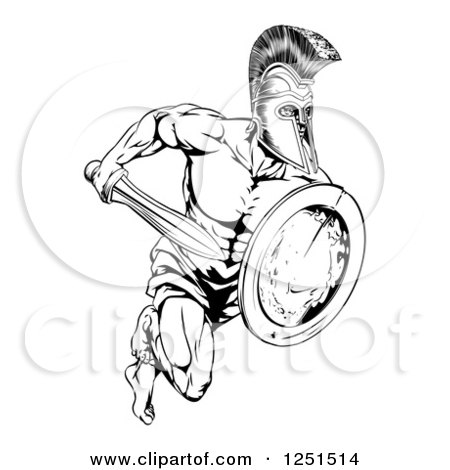 Clipart of a Black and White Running Trojan Gladiator with a Shield and Sword - Royalty Free Vector Illustration by AtStockIllustration