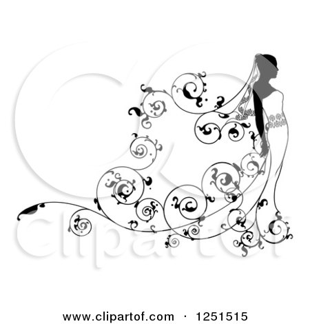 Clipart of a Black and White Bride with Vine Swirls - Royalty Free Vector Illustration by AtStockIllustration