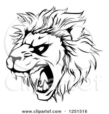 Clipart of a Black and White Roaring Aggressive Lion Mascot Head - Royalty Free Vector Illustration by AtStockIllustration