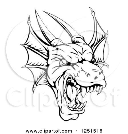 Clipart of a Black and White Fierce Dragon Mascot Head - Royalty Free Vector Illustration by AtStockIllustration