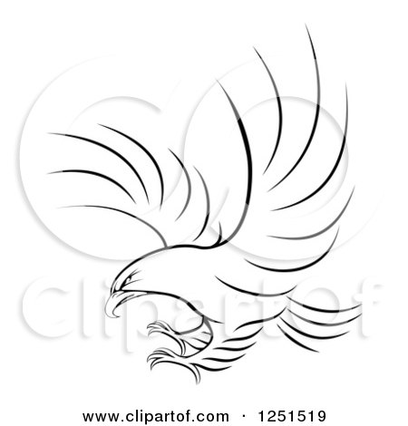 Clipart of a Black and White Eagle Ready to Grab Prey - Royalty Free Vector Illustration by AtStockIllustration