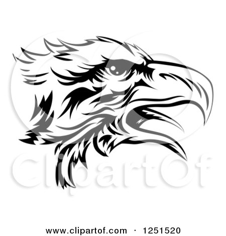 Clipart of a Black and White Eagle Head in Profile - Royalty Free Vector Illustration by AtStockIllustration