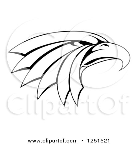 Clipart of a Black and White Tough Eagle Head in Profile - Royalty Free Vector Illustration by AtStockIllustration