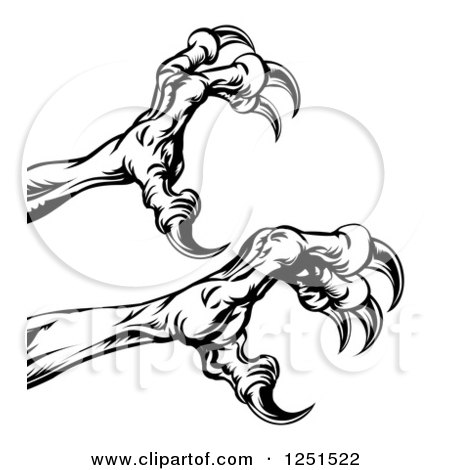 Clipart of Black and White Reaching Eagle Talons - Royalty Free Vector Illustration by AtStockIllustration