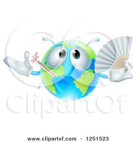 Clipart of a 3d Sick Earth Globe Waving a Fan - Royalty Free Vector Illustration by AtStockIllustration