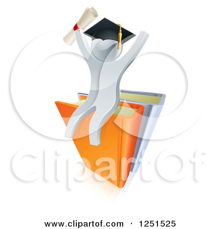 Clipart of a 3d Silver Man Graduate Cheering, Holding a Diploma and Sitting on a Stack of Books - Royalty Free Vector Illustration by AtStockIllustration