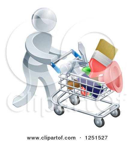 Clipart of a 3d Silver Man Pushing a Shopping Cart Packed with Tools - Royalty Free Vector Illustration by AtStockIllustration