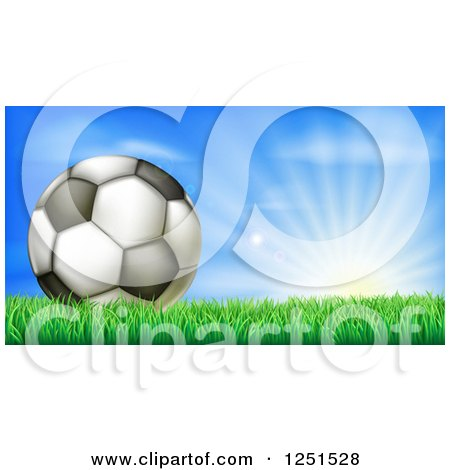 Clipart of a 3d Soccer Ball in Grass at Sunrise - Royalty Free Vector Illustration by AtStockIllustration