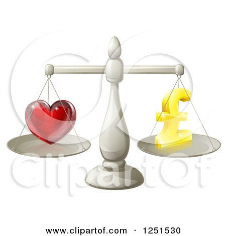 Clipart of a 3d Silver Scales Balancing Pound Sterling Finances and Love - Royalty Free Vector Illustration by AtStockIllustration
