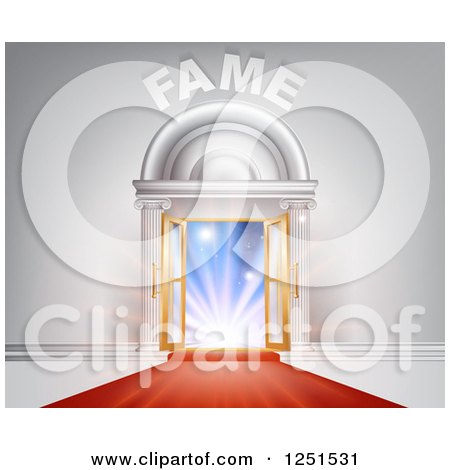 Clipart of a 3d Red Carpet Leading to Lights in an Open Doorway with Fame Text - Royalty Free Vector Illustration by AtStockIllustration