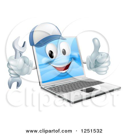 Clipart of a 3d Laptop Computer Repair Character Holding a Wrench and Thumb up - Royalty Free Vector Illustration by AtStockIllustration