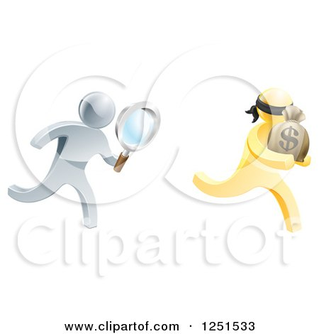 Clipart of a 3d Silver Detective Chasing a Gold Robber with a Magnifying Glass - Royalty Free Vector Illustration by AtStockIllustration