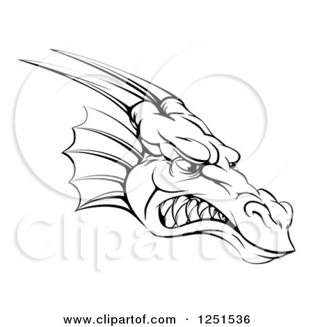 Clipart of a Black and White Snarling Fierce Dragon Mascot Head - Royalty Free Vector Illustration by AtStockIllustration