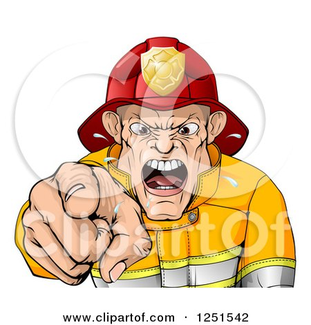 Clipart of a Mad Fireman Pointing Outwards and Shouting - Royalty Free Vector Illustration by AtStockIllustration