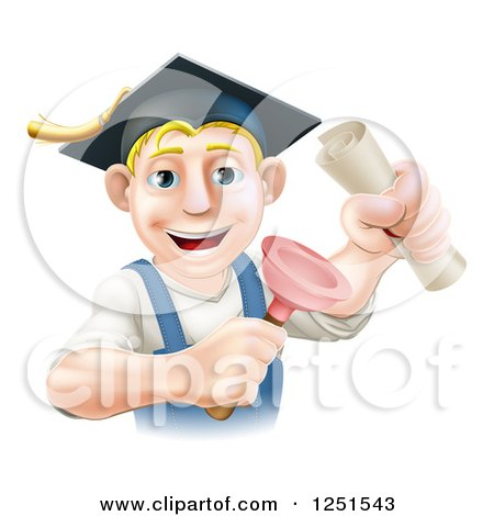 Clipart of a Brunette Male Plumber Graduate Holding a Certificate and Plunger - Royalty Free Vector Illustration by AtStockIllustration