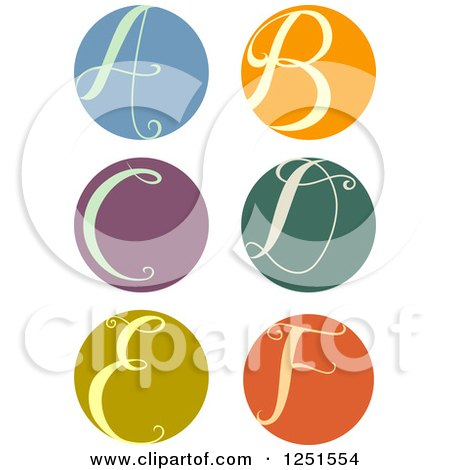 Clipart of a Round Cursive Letters a Through F - Royalty Free Vector Illustration by BNP Design Studio