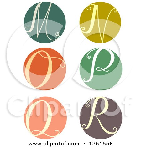 Clipart of a Round Cursive Letters M Through R - Royalty Free Vector Illustration by BNP Design Studio