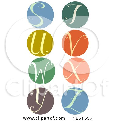 Clipart of a Round Cursive Letters S Through Z - Royalty Free Vector Illustration by BNP Design Studio