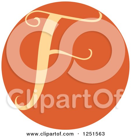 Clipart of a Round Orange Circle with Capital Letter F - Royalty Free Vector Illustration by BNP Design Studio