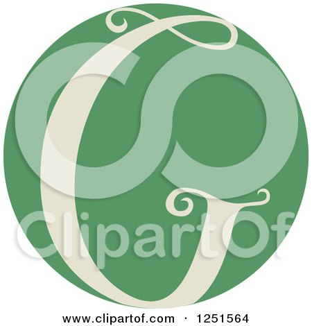 Clipart of a Round Green Circle with Capital Letter G - Royalty Free Vector Illustration by BNP Design Studio