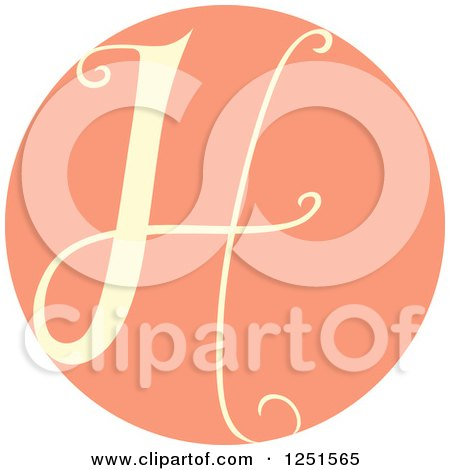 Clipart of a Round Pink Circle with Capital Letter H - Royalty Free Vector Illustration by BNP Design Studio