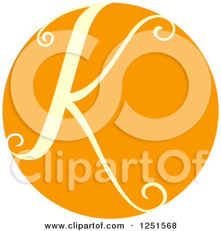 Clipart of a Round Orange Circle with Capital Letter K - Royalty Free Vector Illustration by BNP Design Studio