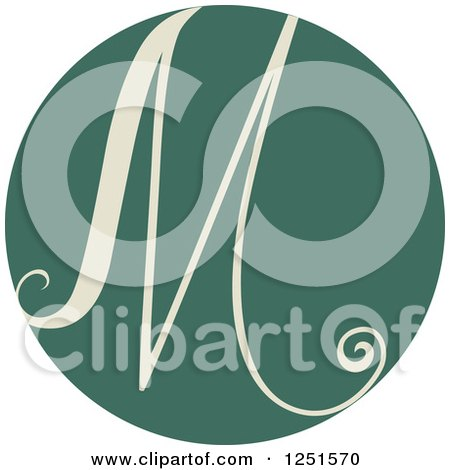 Clipart of a Round Green Circle with Capital Letter M - Royalty Free Vector Illustration by BNP Design Studio