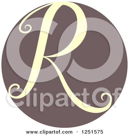 Clipart of a Circle with Capital Letter R - Royalty Free Vector Illustration by BNP Design Studio