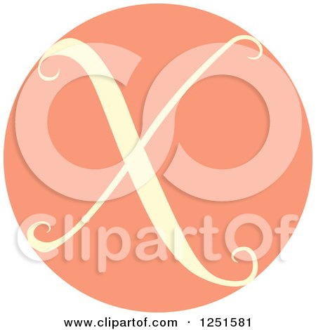 Clipart of a Round Pink Circle with Capital Letter X - Royalty Free Vector Illustration by BNP Design Studio