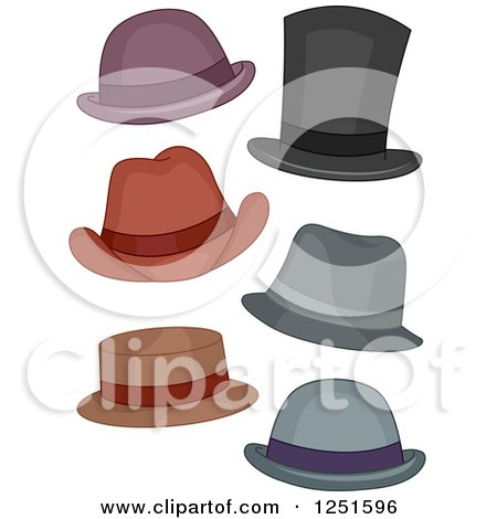 Clipart of Men's Hats - Royalty Free Vector Illustration by BNP Design Studio