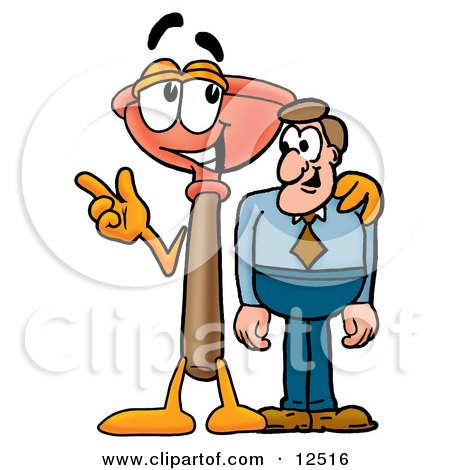 Clipart Picture of a Sink Plunger Mascot Cartoon Character Talking to a Business Man by Toons4Biz
