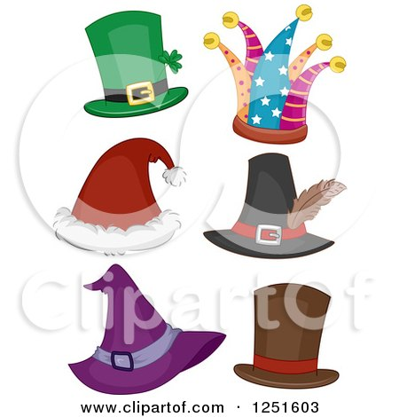 Clipart of Holiday Hats - Royalty Free Vector Illustration by BNP Design Studio