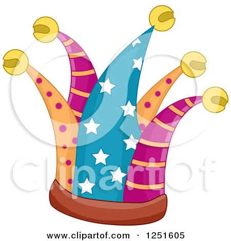 Clipart of a Patterned Jester Hat - Royalty Free Vector Illustration by BNP Design Studio