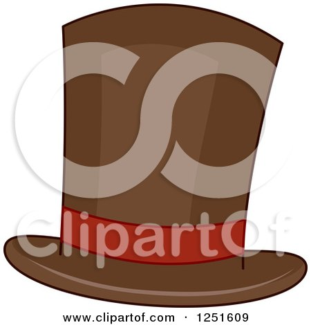Clipart of a Brown Top Hat - Royalty Free Vector Illustration by BNP Design Studio