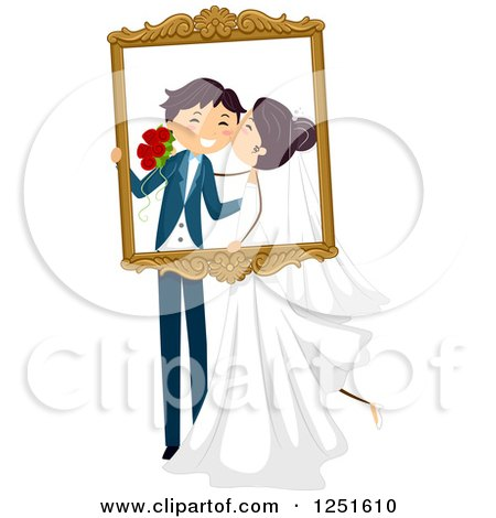 Clipart Of A Wedding Couple Kissing And Holding A Frame Royalty Free Vector Illustration