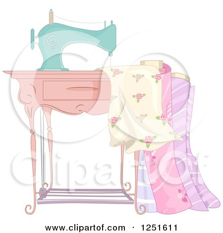 Clipart of a Vintage Sewing Machine with Fabric - Royalty Free Vector Illustration by BNP Design Studio