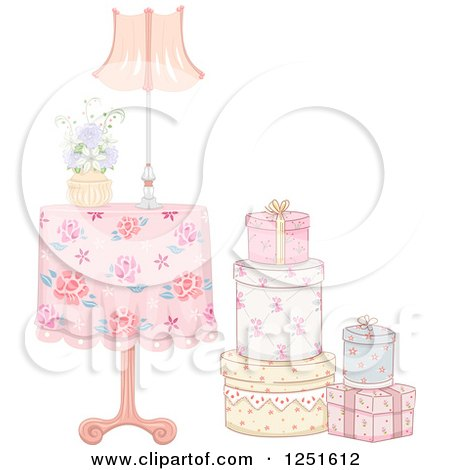 Clipart of a Vintage Table with a Stack of Gift Boxes - Royalty Free Vector Illustration by BNP Design Studio
