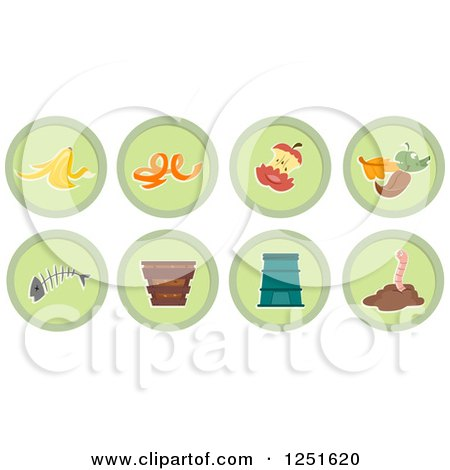Clipart of Round Green Composing Icons - Royalty Free Vector Illustration by BNP Design Studio