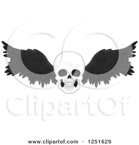 Clipart of a Skull with Black Feathered Wings - Royalty Free Vector Illustration by BNP Design Studio