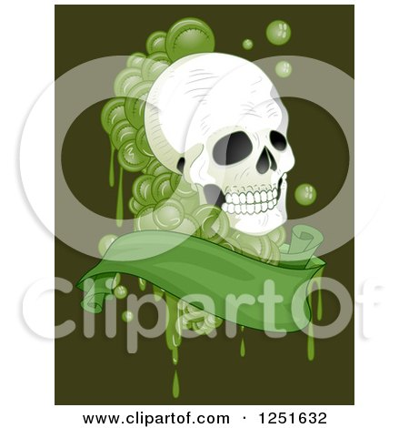 Clipart of a Human Skull with Green Drops and a Banner - Royalty Free Vector Illustration by BNP Design Studio