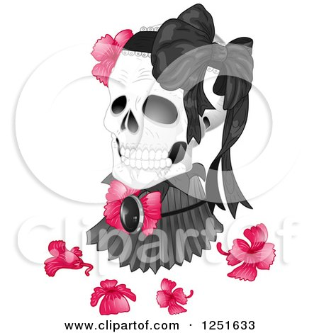 Clipart of a Human Skull with a Victorian High Neck Collar, Flowers and Bow - Royalty Free Vector Illustration by BNP Design Studio