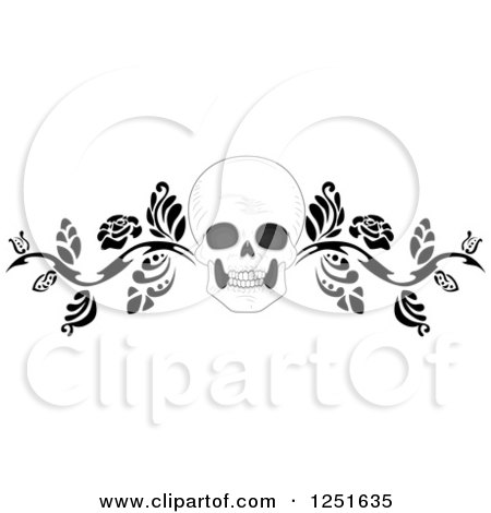 Clipart of a Human Skull with a Black Floral Vine - Royalty Free Vector Illustration by BNP Design Studio