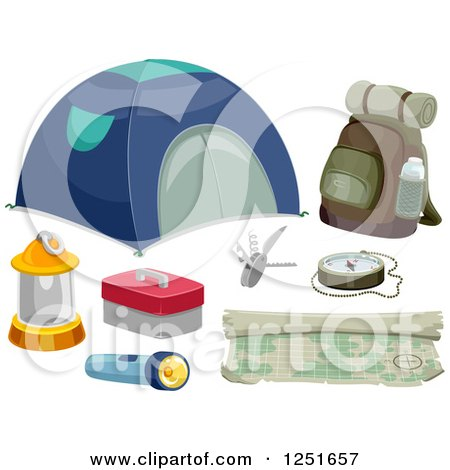 Clipart of Camping and Hiking Gear - Royalty Free Vector Illustration by BNP Design Studio
