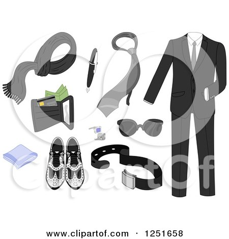 Clipart of Formal Men's Accessories - Royalty Free Vector Illustration by BNP Design Studio