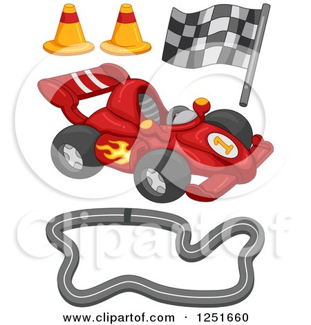 Clipart of a Race Car and Track Items - Royalty Free Vector Illustration by BNP Design Studio