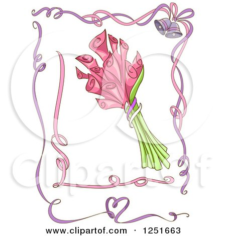Clipart of Pink and Purple Ribbon Borders with Pink Lilies - Royalty Free Vector Illustration by BNP Design Studio