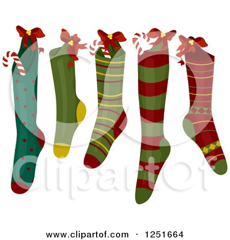 Clipart Mouse Sitting Atop Christmas Stockings - Royalty Free ...