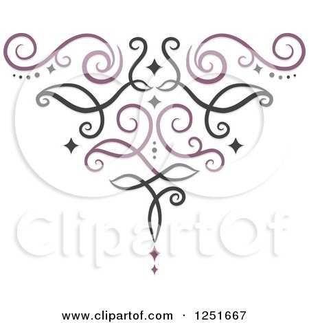 Clipart of a Purple and Black Ornate Swirl - Royalty Free Vector Illustration by BNP Design Studio