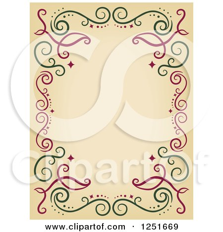 Clipart of a Decorative Red and Green Swirl Border - Royalty Free Vector Illustration by BNP Design Studio